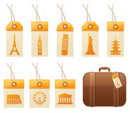 Travel Tags. Tags with famous landmarks, and a suitcase. Tags, landmarks and suitcase can all be used separately Royalty Free Stock Photo