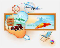 Travel template with classic car in front of exotic view Stock Image