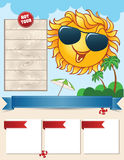 Travel template with smiling sun Royalty Free Stock Images