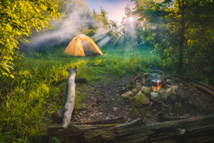 Travel tent in a light of sunrise royalty free stock photos