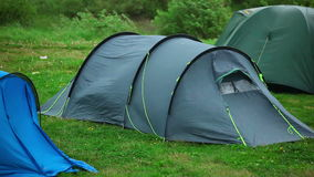 Travel tent. Protection from wind and rain stock footage
