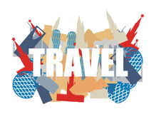 Travel. Text on background silhouettes attractions of countries. Stock Images