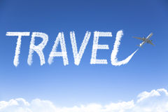 Travel text drawing by airplane in the sky Royalty Free Stock Photography