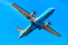 Travel Thailand. Aircraft ( Propeller Plane ) Flying In Sky. Tou Royalty Free Stock Photos