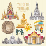 Travel Thailand landmarks with colorful elements. Thai vector icons. Royalty Free Stock Photo