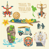 Travel Thailand landmarks set. Thai vector icons. Royalty Free Stock Images