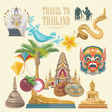 Travel Thailand landmarks set. Thai vector icons. Stock Images