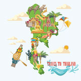 Travel Thailand landmarks with Thailand map and ocean. Thai vector icons. Royalty Free Stock Photo