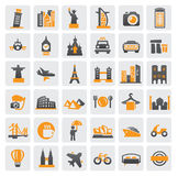 Travel theme. With many icon on gray Royalty Free Stock Image
