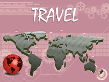 Travel theme. Abstract colorful background with world map and small red globe in the corner. Travel concept Stock Photos