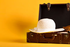 Travel theme with suitcase Royalty Free Stock Images