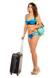 Travel theme. Woman with luggage Royalty Free Stock Photo
