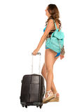 Travel theme. Woman with luggage Stock Photos
