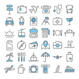 Travel thin line color icons set. Eps 10 Royalty Free Stock Photography