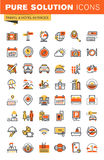 Travel thin line flat design web icons collection Royalty Free Stock Photos