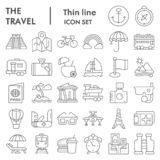 Travel thin line icon set, tourism symbols collection, vector sketches, logo illustrations, holiday signs linear stock illustration