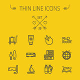 Travel thin line icon set Stock Photography