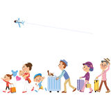 Travel in three-generation family. I go for a trip in three-generation family vector illustration