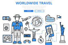 Travel ticket booking concept flat line art vector icons Royalty Free Stock Image