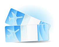 Travel tickets. Two travel tickets on blue Royalty Free Stock Photo
