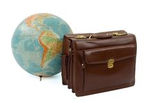 Travel Time. Leather suitcase and the globe on a white background Royalty Free Stock Images