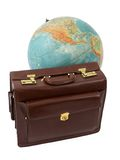 Travel Time 2. Leather suitcase and the globe on a white background Stock Photography