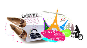 Travel time background,  collage Royalty Free Stock Photos