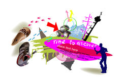 Travel time background,  collage Royalty Free Stock Images