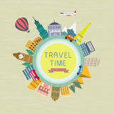 Travel time concept in flat design Royalty Free Stock Photo