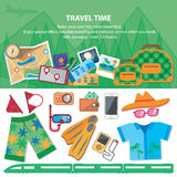 Travel time.  Flat style travel blog icon set.  Stock Photos