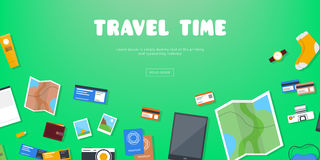 Travel time. Horizontal advertising banner on theme travel, vacation. Preparing for journey. Green backdrop with things. Necessary traveler. Top view. Colorful Stock Images