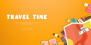 Travel time. Horizontal advertising banner on theme travel, vacation. Preparing for journey. Orange backdrop with things. Necessary traveler. Top view. Colorful Stock Photos