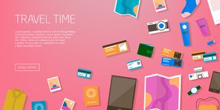 Travel time. Horizontal advertising banner on theme travel, vacation. Preparing for journey. Pink backdrop with things. Necessary traveler. Top view. Colorful Stock Photo