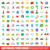 100 travel time icons set, cartoon style. 100 travel time icons set in cartoon style for any design vector illustration stock illustration