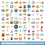 100 travel time icons set, cartoon style. 100 travel time icons set in cartoon style for any design vector illustration Stock Images