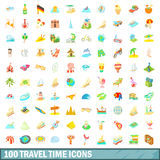 100 travel time icons set, cartoon style. 100 travel time icons set in cartoon style for any design vector illustration Royalty Free Stock Images