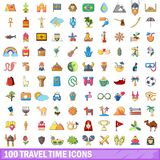 100 travel time icons set, cartoon style. 100 travel time icons set. Cartoon illustration of 100 travel time vector icons isolated on white background royalty free illustration
