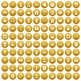 100 travel time icons set gold. 100 travel time icons set in gold circle isolated on white vector illustration Royalty Free Stock Photo