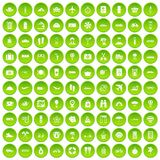 100 travel time icons set green. 100 travel time icons set in green circle isolated on white vectr illustration Stock Illustration