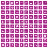 100 travel time icons set grunge pink. 100 travel time icons set in grunge style pink color isolated on white background vector illustration Royalty Free Stock Photo