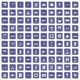 100 travel time icons set grunge sapphire. 100 travel time icons set in grunge style sapphire color isolated on white background vector illustration Stock Photography