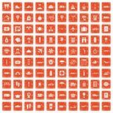 100 travel time icons set grunge orange. 100 travel time icons set in grunge style orange color  on white background vector illustration Stock Image