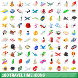 100 travel time icons set, isometric 3d style. 100 travel time icons set in isometric 3d style for any design vector illustration Stock Image