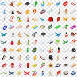 100 travel time icons set, isometric 3d style Stock Image