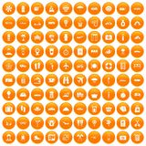 100 travel time icons set orange. 100 travel time icons set in orange circle isolated on white vector illustration Royalty Free Stock Photography