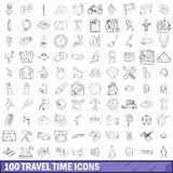 100 travel time icons set, outline style Royalty Free Stock Photo