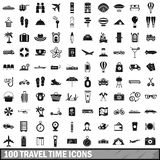 100 travel time icons set, simple style. 100 travel time icons set in simple style for any design illustration royalty free illustration