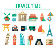 Travel Time Items Collection Royalty Free Stock Image