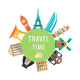 Travel Time Logo With Famous Buildings Stock Photography