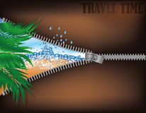 Travel time. Open zipper tropical beach Royalty Free Stock Image